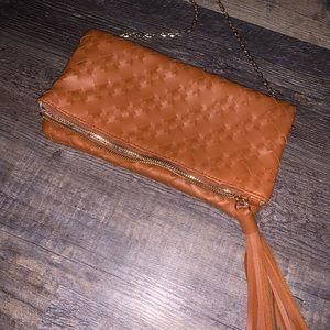 Braided Leather Cross Body Bag with Gold Chain